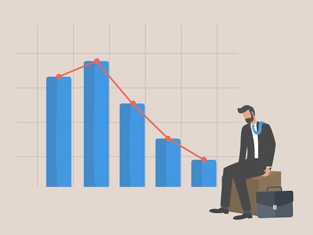 Bankructwo, biznesmen siedzący apatycznie z powodu malejącego wykresu graficznego