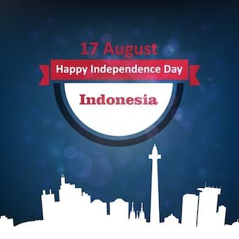 Banner 17 sierpnia indonezja ribbon