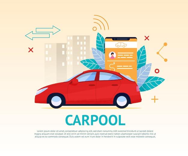 Banner aplikacji carpool. travel transport rent. czerwony samochód w kreskówki pejzażu miejskim. inteligentny telefon komórkowy nowoczesny serwis samochodowy. kabina zarezerwowana technologia aplikacji. napęd carsharing.