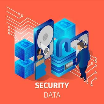 Banner danych bezpieczeństwa. mężczyzna pracuje w centrum danych