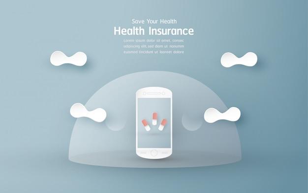 Banner de seguro de salud en azul pastel