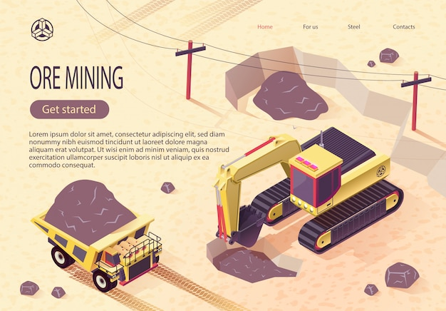 Banner do wydobycia rudy z maszynami wydobywczymi