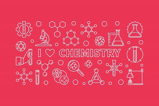 Banner i love chemistry. ilustracja linii chemicznych