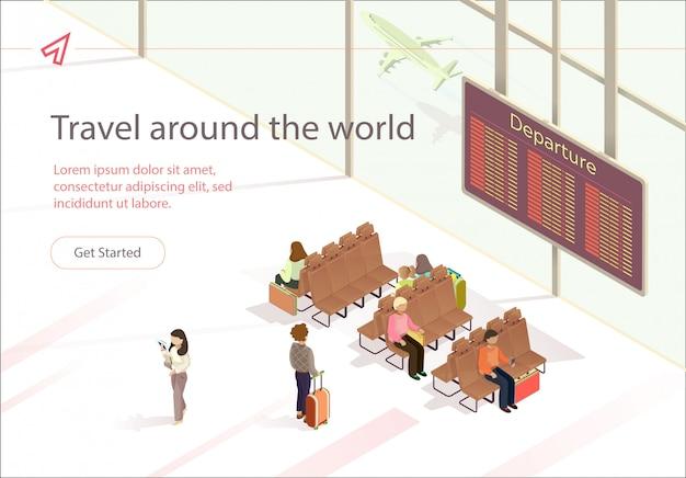 Banner Illustration Podróż Po świecie Czeka. Premium Wektorów