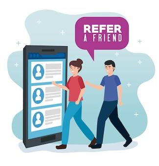 Banner ilustracja polecania znajomego z parą i smartfonem
