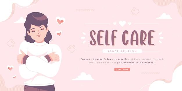 Banner ilustracji świadomości samoopieki