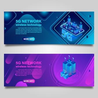 Banner inteligentne budynki koncepcyjne miasta z technologią bezprzewodowego internetu 5g do projektowania izometrycznego biznesu