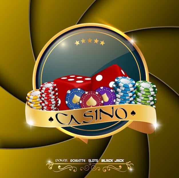 Banner kasyno poker z żetonów i kości
