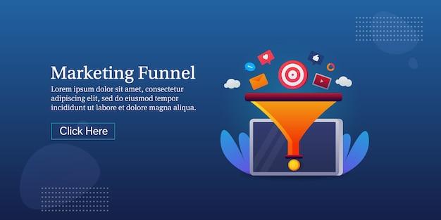 Banner koncepcyjny lejek marketingowy