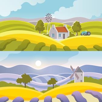 Banner krajobrazu wiejskiego