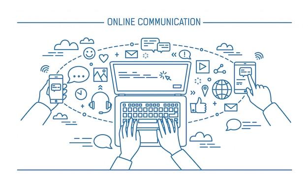 Banner lineart komunikacji online. gadżety, technologie informacyjne, komunikacja, wiadomości, czat, media. ilustracja wektorowa kontur mieszkanie