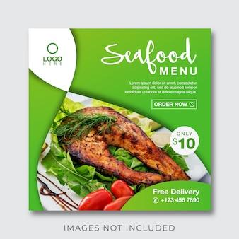 Banner menu kulinarne żywności dla mediów społecznościowych i szablon post instagram