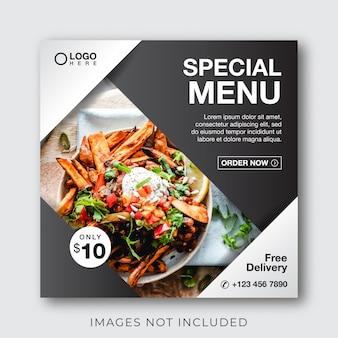 Banner menu kulinarne żywności dla szablonu post mediów społecznościowych