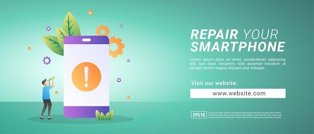 Banner naprawia uszkodzony smartfon, przywraca błędne urządzenie. banery reklamowe
