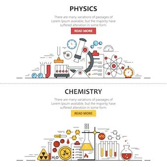 Banner naukowy. chemia i fizyka. obszar roboczy laboratorium i sprzęt naukowy.