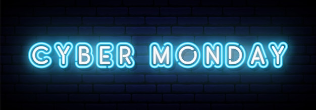 Banner neon cyber monday.