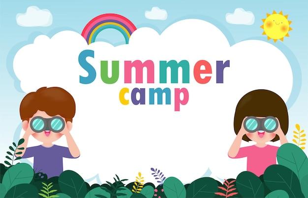 Banner obozu letniego dla dzieci ze szczęśliwymi dziećmi robiącymi zajęcia na kempingu i skakaniu