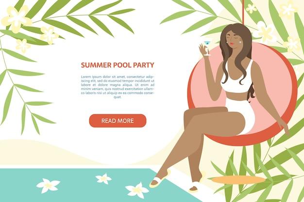 Banner party basen lato. kobieta siedzi z koktajl w pobliżu basenu