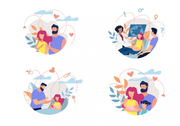Banner process family with romance to parenthood.