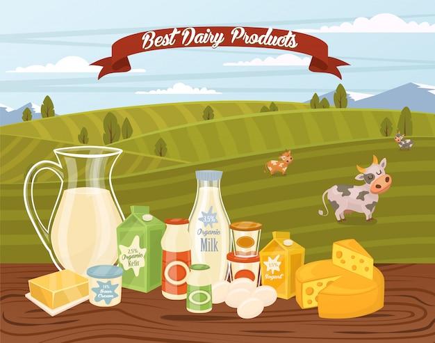 Banner produktów rolnych z kompozycją produktów mlecznych