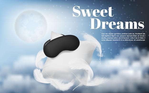 Banner promocyjny z realistyczną białą poduszką, opaską na oczy, piórami