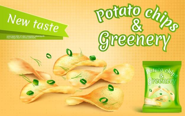 Banner promocyjny z realistycznymi chipsami ziemniaczanymi i zielenią