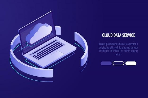 Banner serwera cloud, laptop z ikoną chmurki