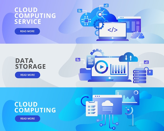 Banner sieci web ilustracja cloud computing, przechowywanie danych