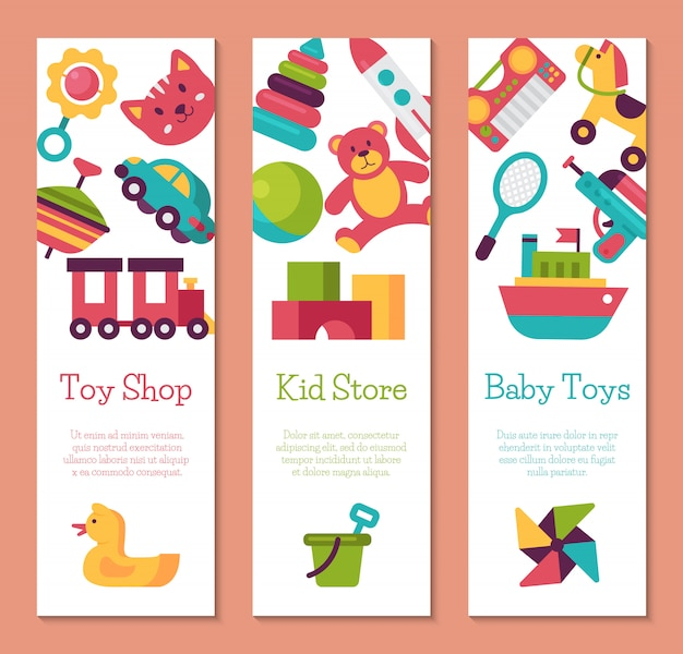 Banner sklep z zabawkami dla dzieci w stylu cartoon płaski. rynek gier dla dzieci obejmuje misia, piramidę, lalkę