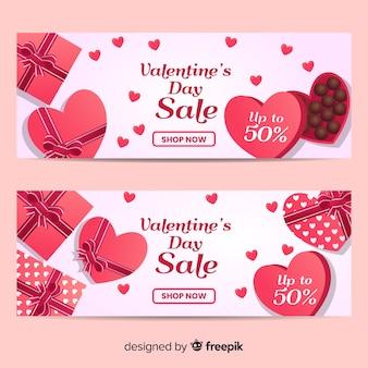 Banner sprzedaży czekolady valentine