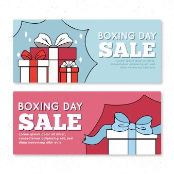 Banner sprzedaży dzień boxing day w jasnych kolorach