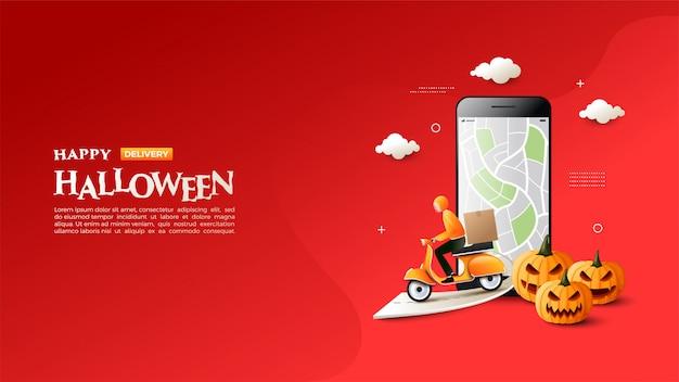Banner sprzedaży halloweenowej z ilustracją wysyłania towarów za pomocą motocykla.