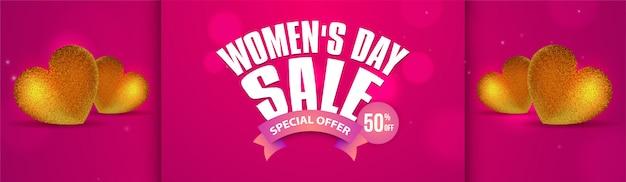 Banner sprzedaży happy kobiet dzień.