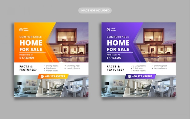 Banner sprzedaży nieruchomości w domu