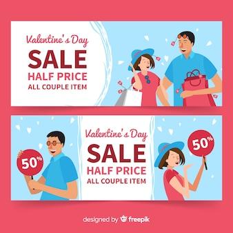 Banner sprzedaży para valentine