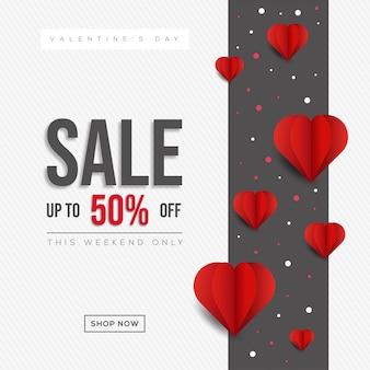 Banner sprzedaży valentine's day