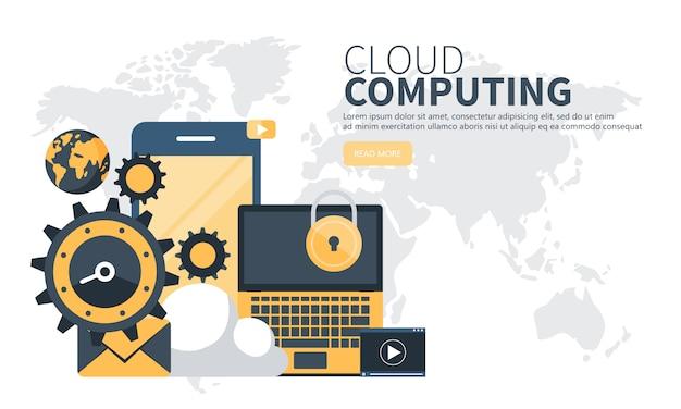 Banner strony internetowej do przetwarzania w chmurze