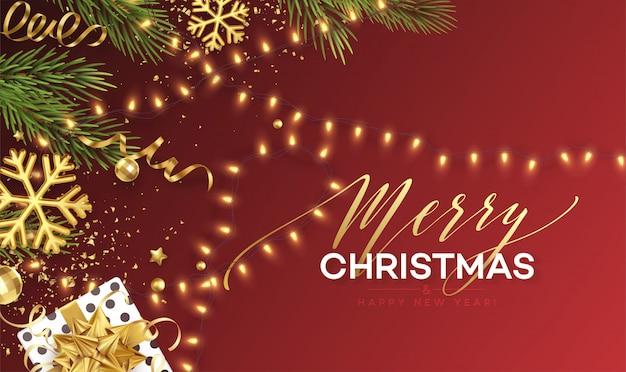 Banner świąteczny. realistyczne musujące światła girlandy ze złotymi płatkami śniegu i złotym świecidełkiem na tle z gałązek choinki. ilustracja
