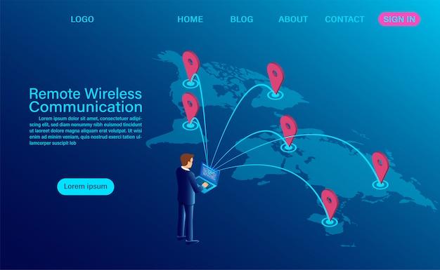 Banner światowej klasy koncepcji bezprzewodowej komunikacji zdalnej.
