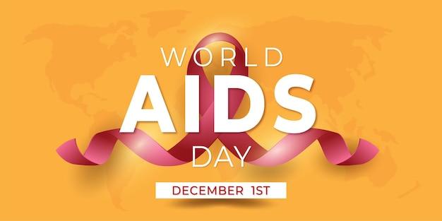 Banner światowy dzień pomocy w żółtym bakground