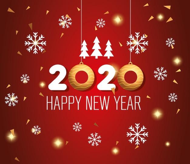 Banner szczęśliwego nowego roku 2020 z dekoracją
