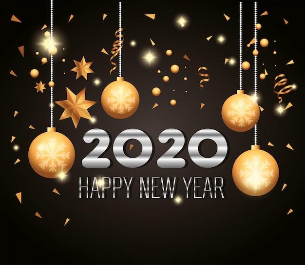 Banner szczęśliwego nowego roku 2020 z wiszącymi kulkami dekoracji