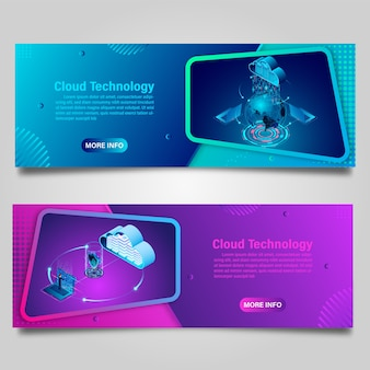 Banner technologia przetwarzania w chmurze do projektowania izometrycznego biznesu