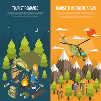 Banner turystyka z turystów i sprzętu