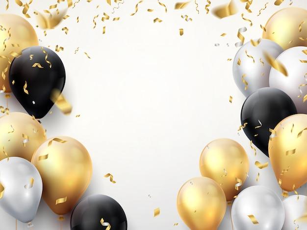 Banner uroczystości. zadowolony urodziny party tło z złote wstążki, konfetti i balony. realistyczny plakat rocznicowy
