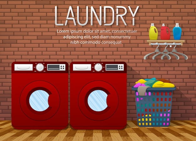 Banner usługi pralni z widokiem wnętrza pokoju pralni