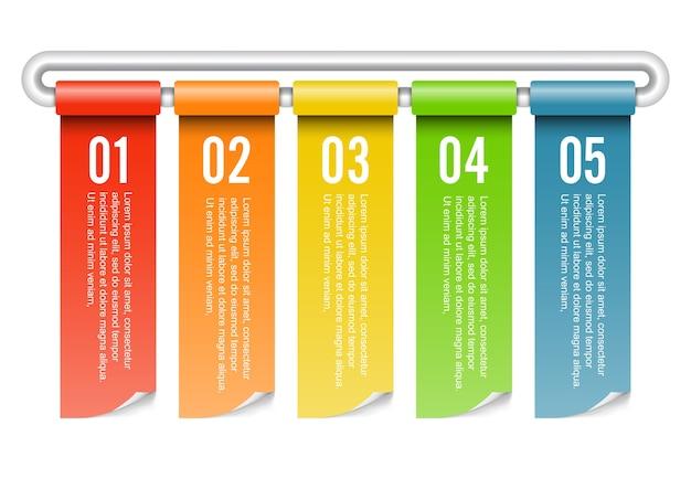 Banner walcowane infografiki pięć opcji.