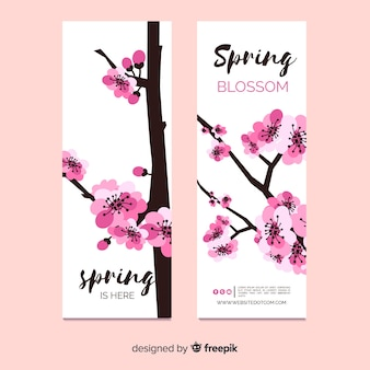 Banner wiosna drzewa sakura