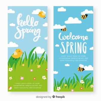 Banner wiosną trawy