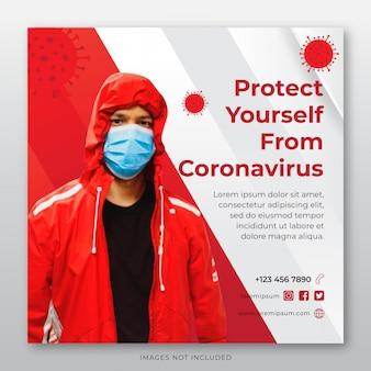 Banner wirusa ochrony corona szablon social media post szablon